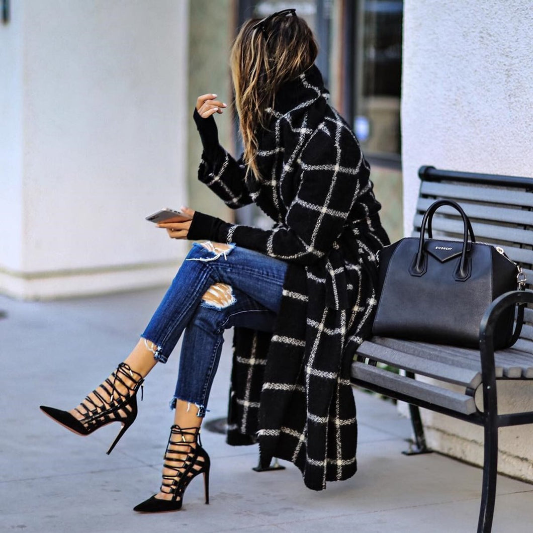 women winter coats 2020 of pop Women's long coat Black striped plaid Street fashion winter woolen jacket