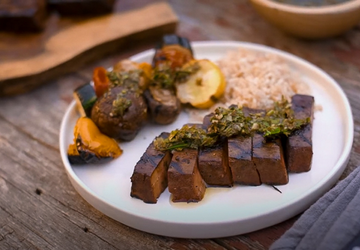 Meati Steak with Chimichurri & Veggie Kebabs