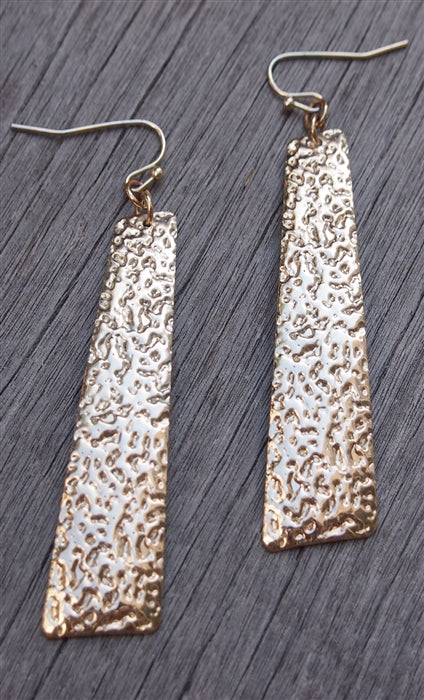 Gold Vertical Hammered Plated Earrings