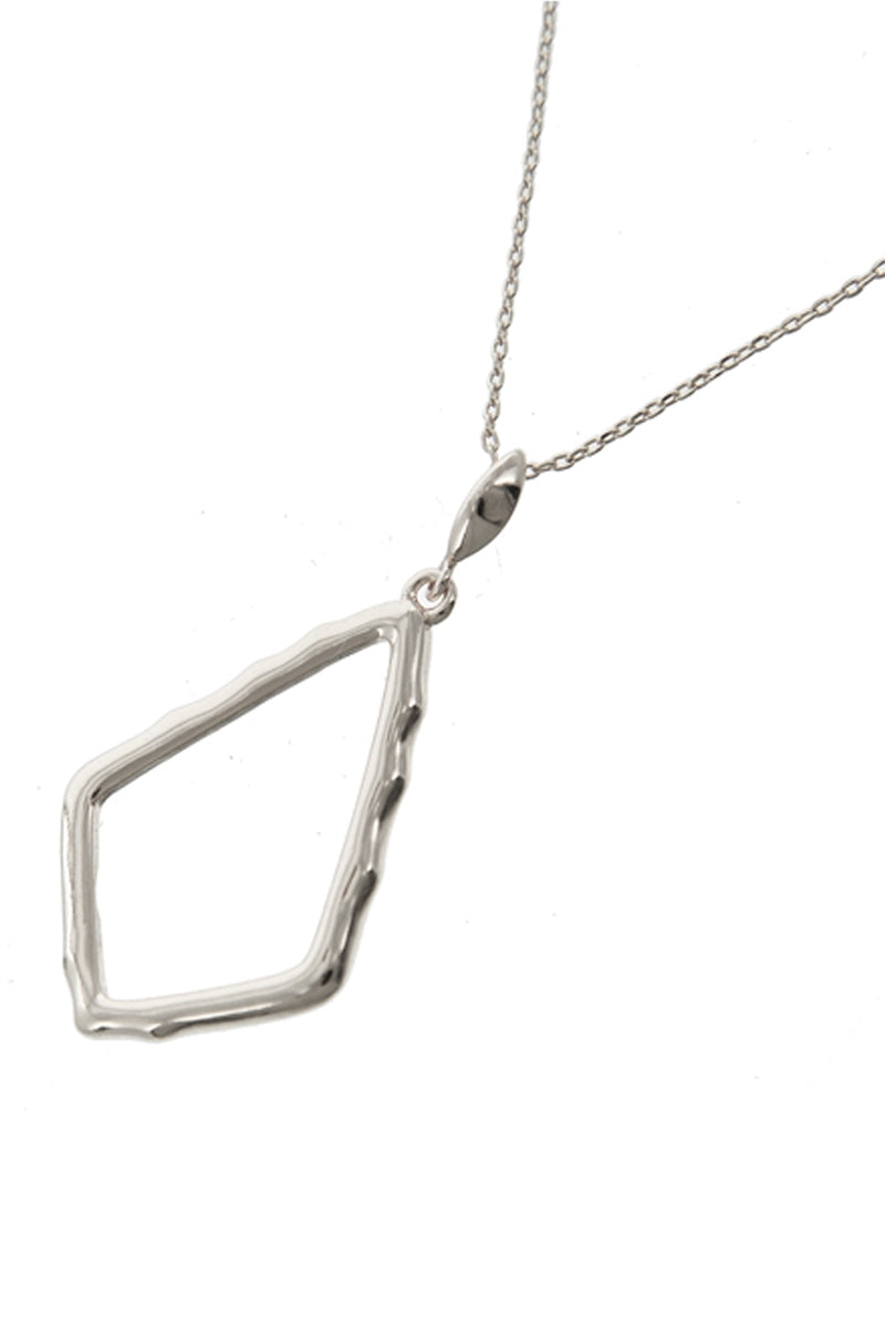 Point Out Silver Rhombus Pendant Necklace