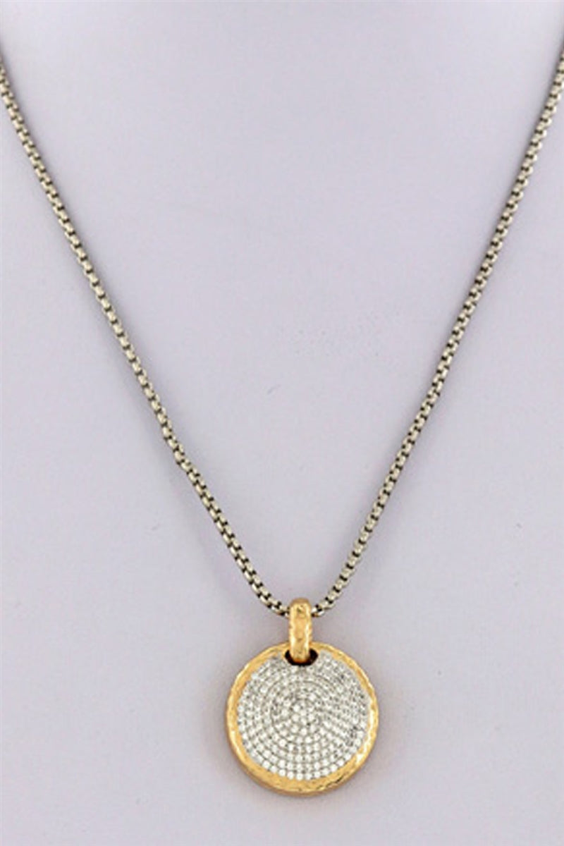 Bling Around Pave Crystal Pendant Necklace