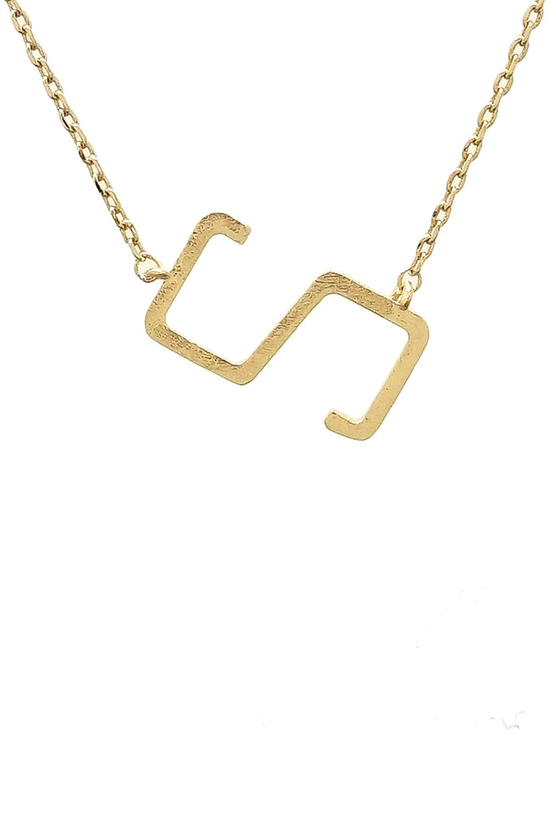 Small Gold Sideway Initial Necklace - S
