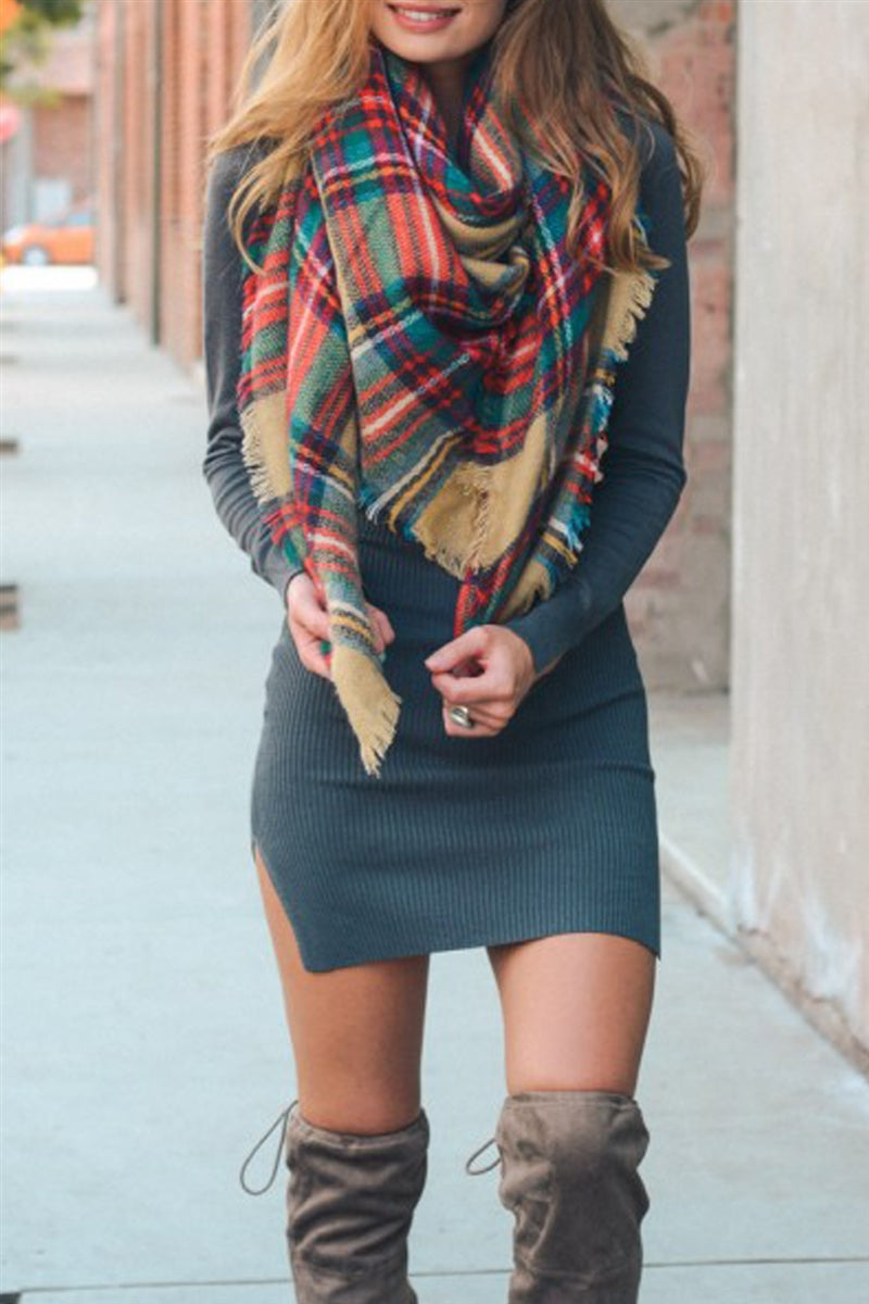 Just Checking Plaid Blanket Scarf