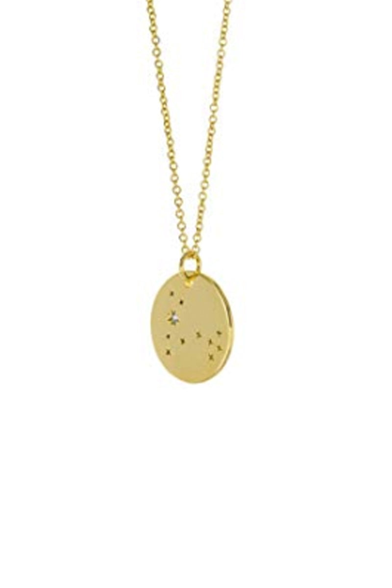 Zodiac Constellation Gold Coin Pendant Necklace - Pisces