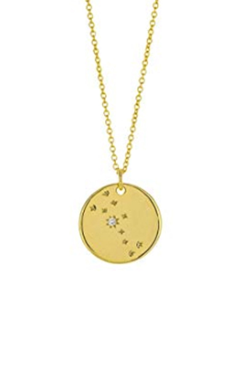 Zodiac Constellation Gold Coin Pendant Necklace - Taurus