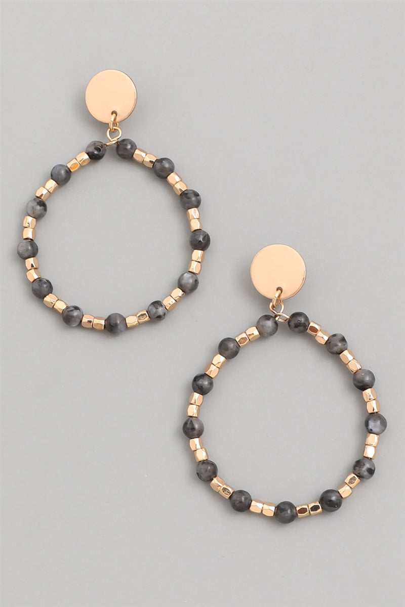 Dark Shadows Beaded Hoop Earrings