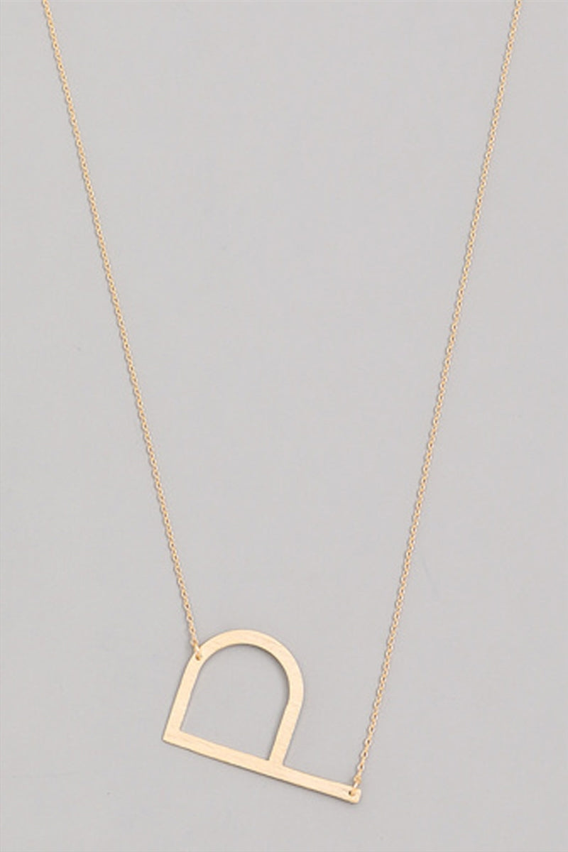 Medium Sideways Initial Necklace - P