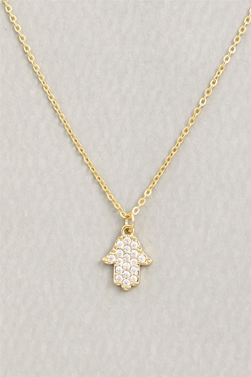 Gold Crystal Hamsa Pendant Necklace