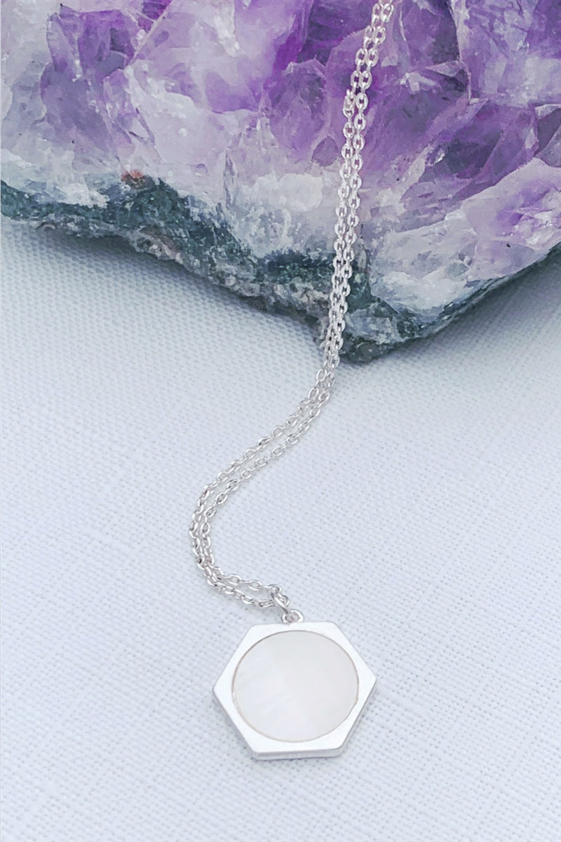 Stop & Stare Hexagon Mother Of Pearl Pendant Necklace