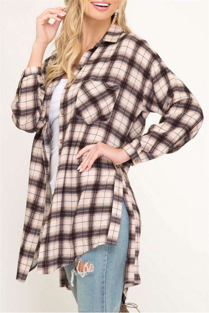 Blank Check Taupe Plaid Button Down Top