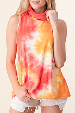 Tie Dye Sleeveless Turtleneck Tank Top With Mask