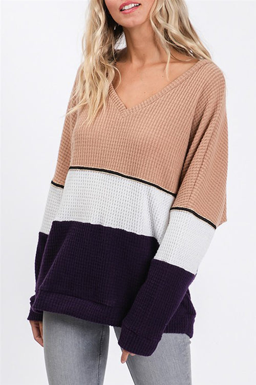 Through Thick & Thin Color Block Thermal Long Sleeve Top