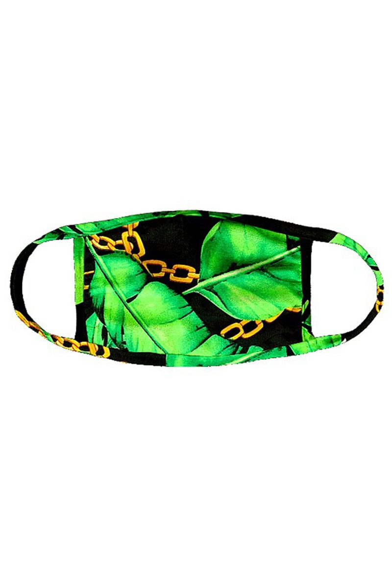 Black Tropical Chain Face Mask