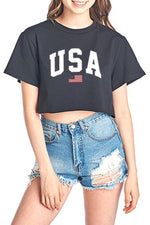 USA Crop Top Tee