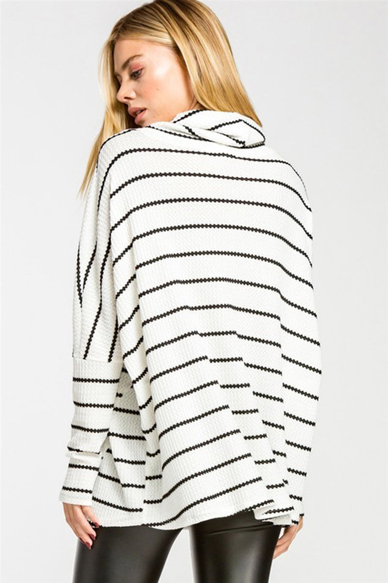 Line By Line Striped Cowl Turtleneck