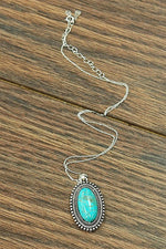 Studded Oval Turquoise Pendant Necklace