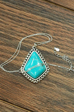 Large Diamond Shape Studded Turquoise Pendant Necklace