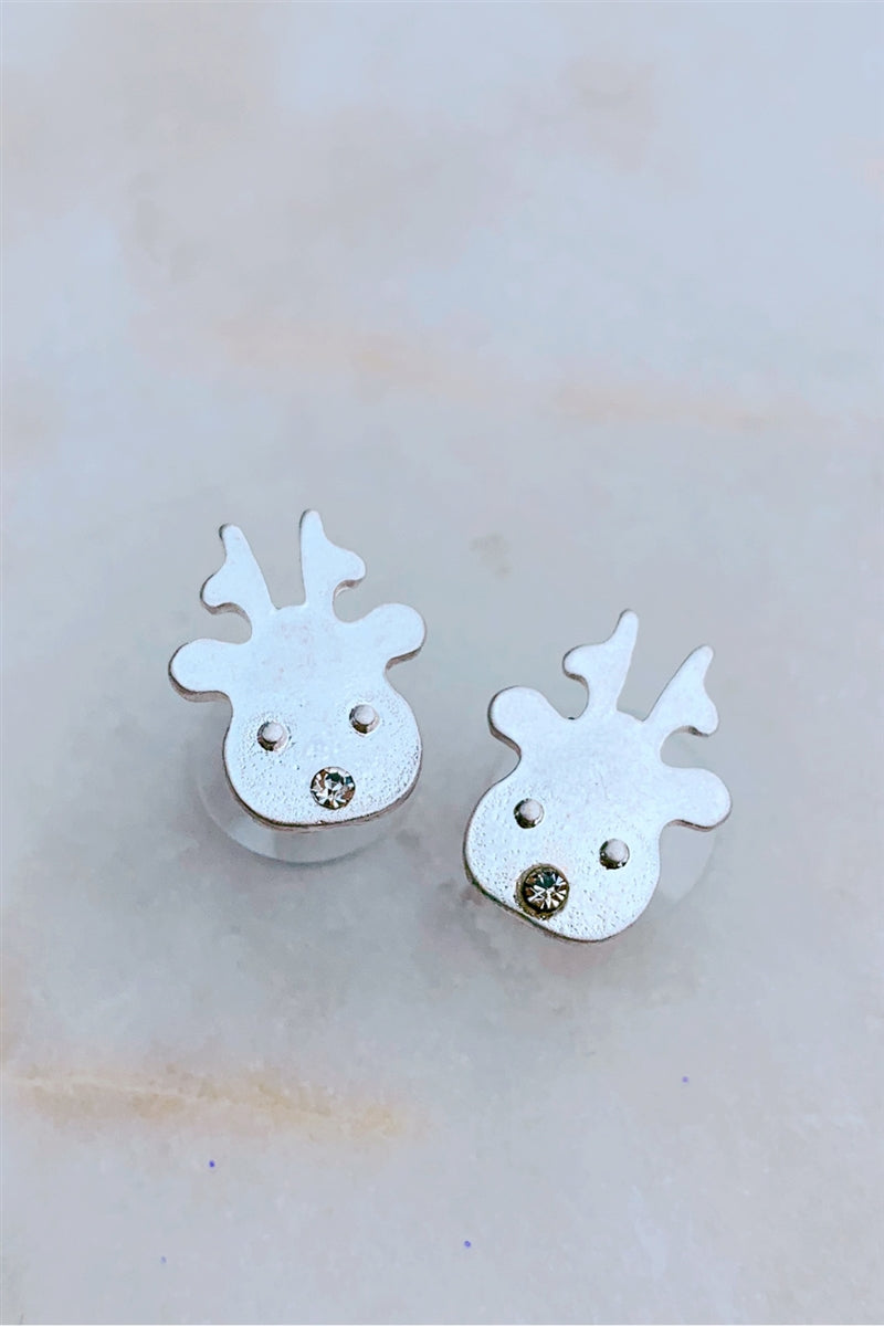 Reindeer Face Stud Earrings