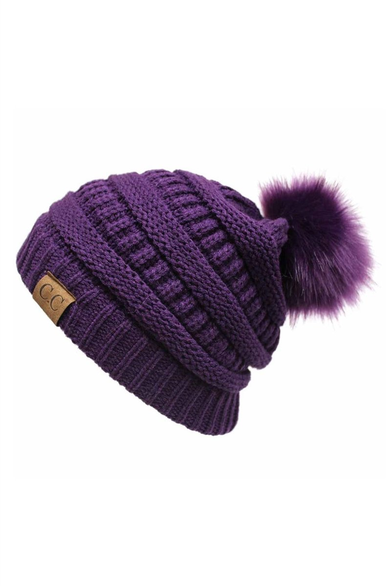 CC Cable Knit Pom Beanie - Purple