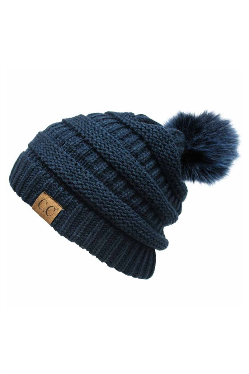 CC Cable Knit Pom Beanie - Navy
