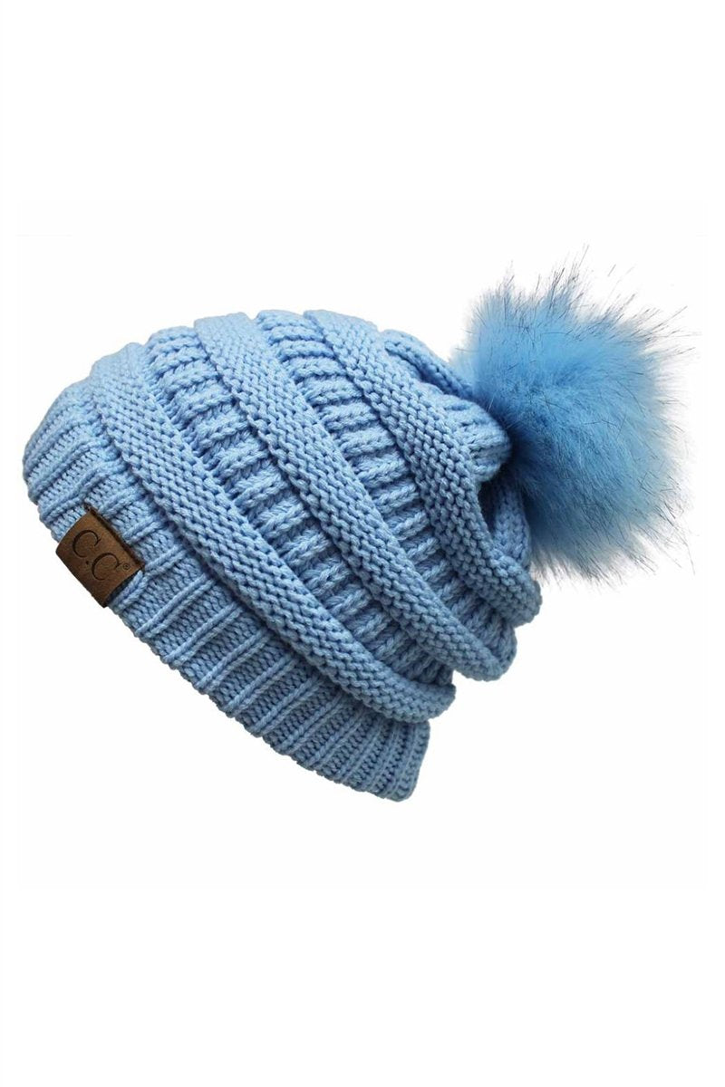 CC Cable Knit Pom Beanie - Baby Blue