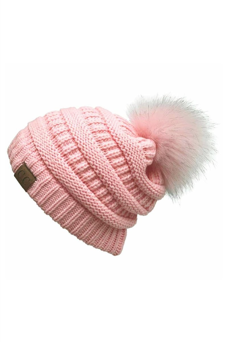 CC Cable Knit Pom Beanie - Pale Pink