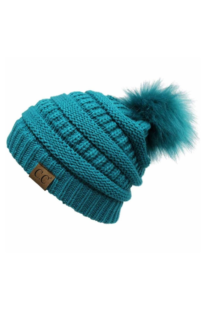 CC Cable Knit Pom Beanie - Teal