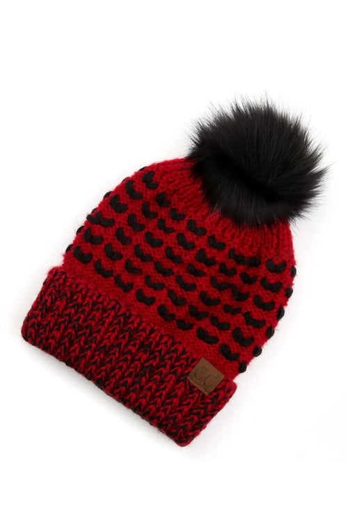 CC Two Tone Heart Knit Pom Beanie - Red