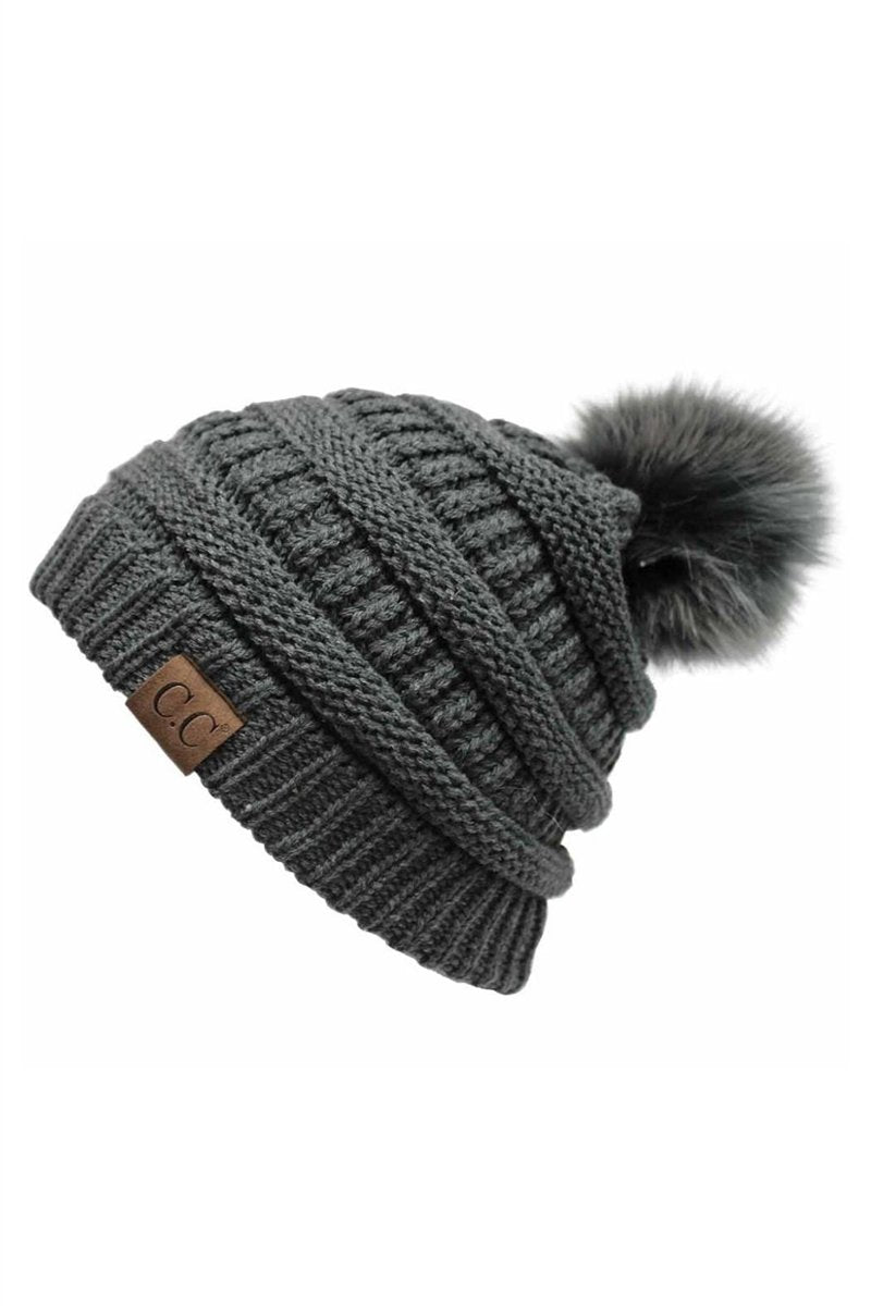 CC Cable Knit Pom Beanie - Dark Gray