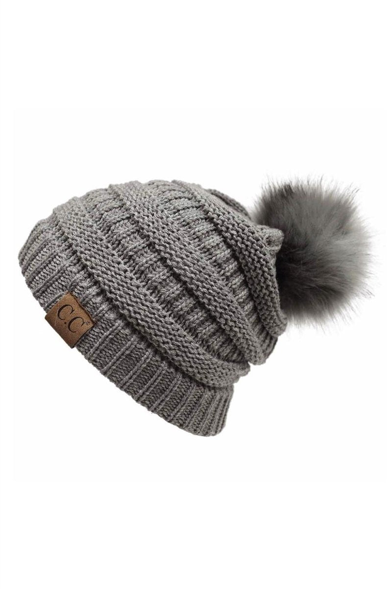 CC Cable Knit Pom Beanie - Light Gray