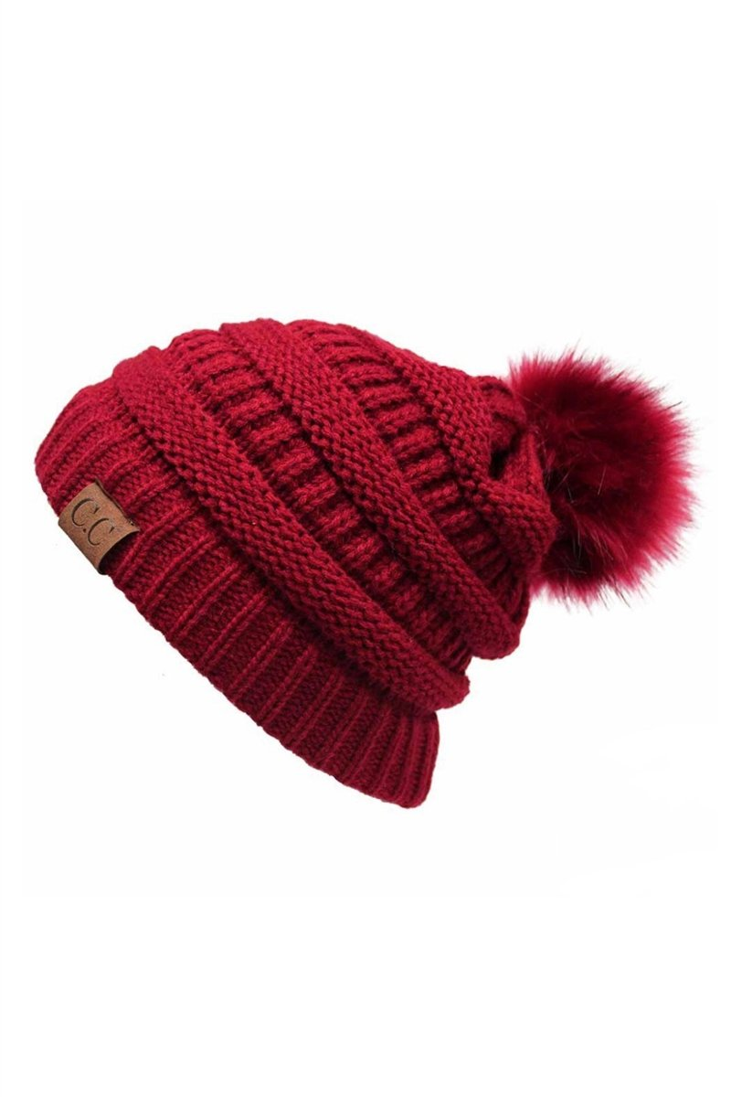 CC Cable Knit Pom Beanie - Red