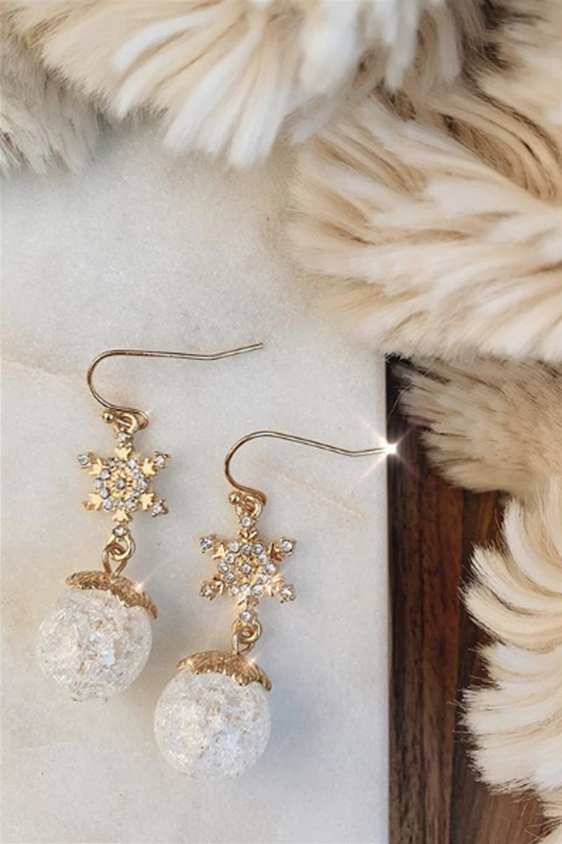 White Christmas Snowflake Earrings