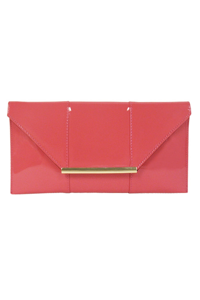 Coral Patent Leather Clutch