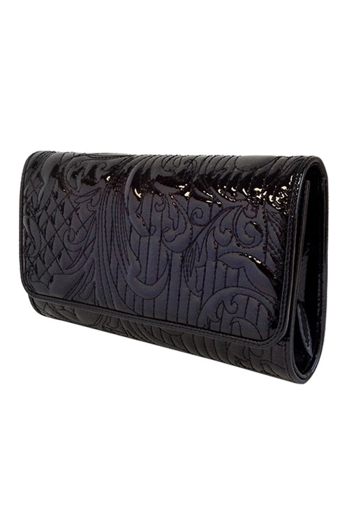 Midnight Memories Patent Leather Embroidered Clutch