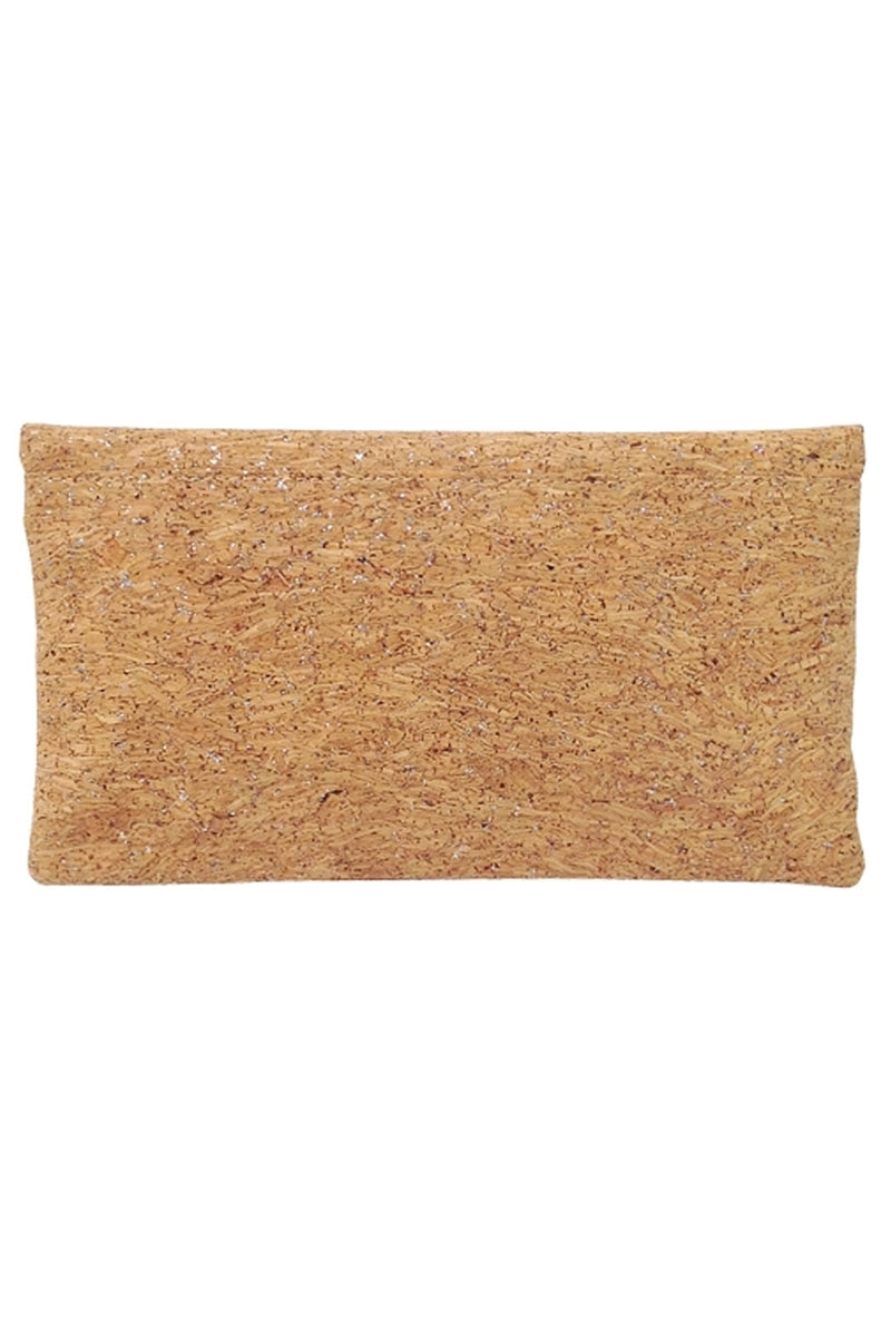 Silver Cork Fold Over Clutch