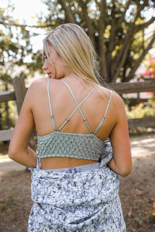 Smittened Strappy Lace Bralette - Sage
