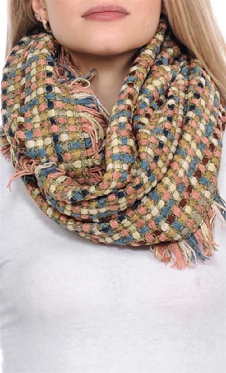 Betty Woven & Fringe Infinity Scarf