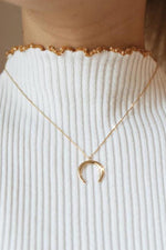 Over The Moon Crescent Pendant Necklace