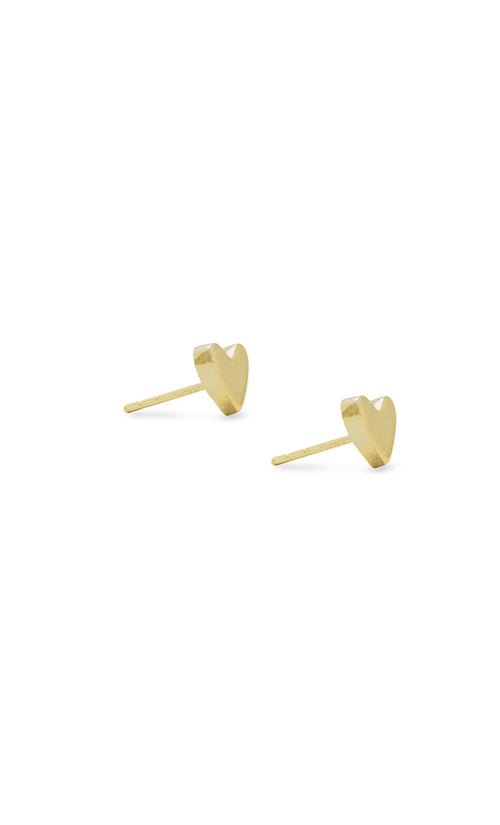 Elastic Heart Gold Stud Earrings