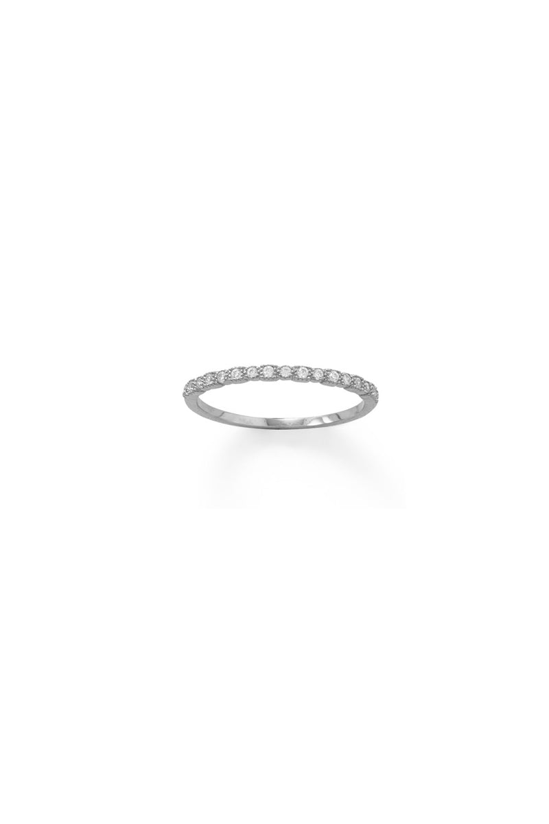 Silver Thin CZ Ring