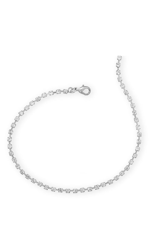 Twinkling Stars Delicate Crystal Choker Necklace - Silver