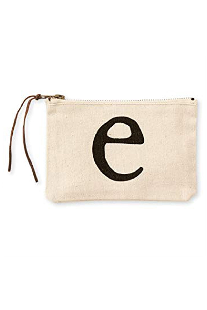 Mudpie E Initial Canvas Cosmetic Pouch