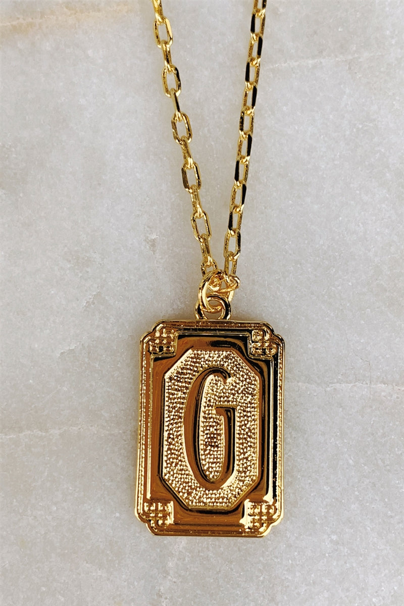Gold Deco Initial Pendant Necklace - G