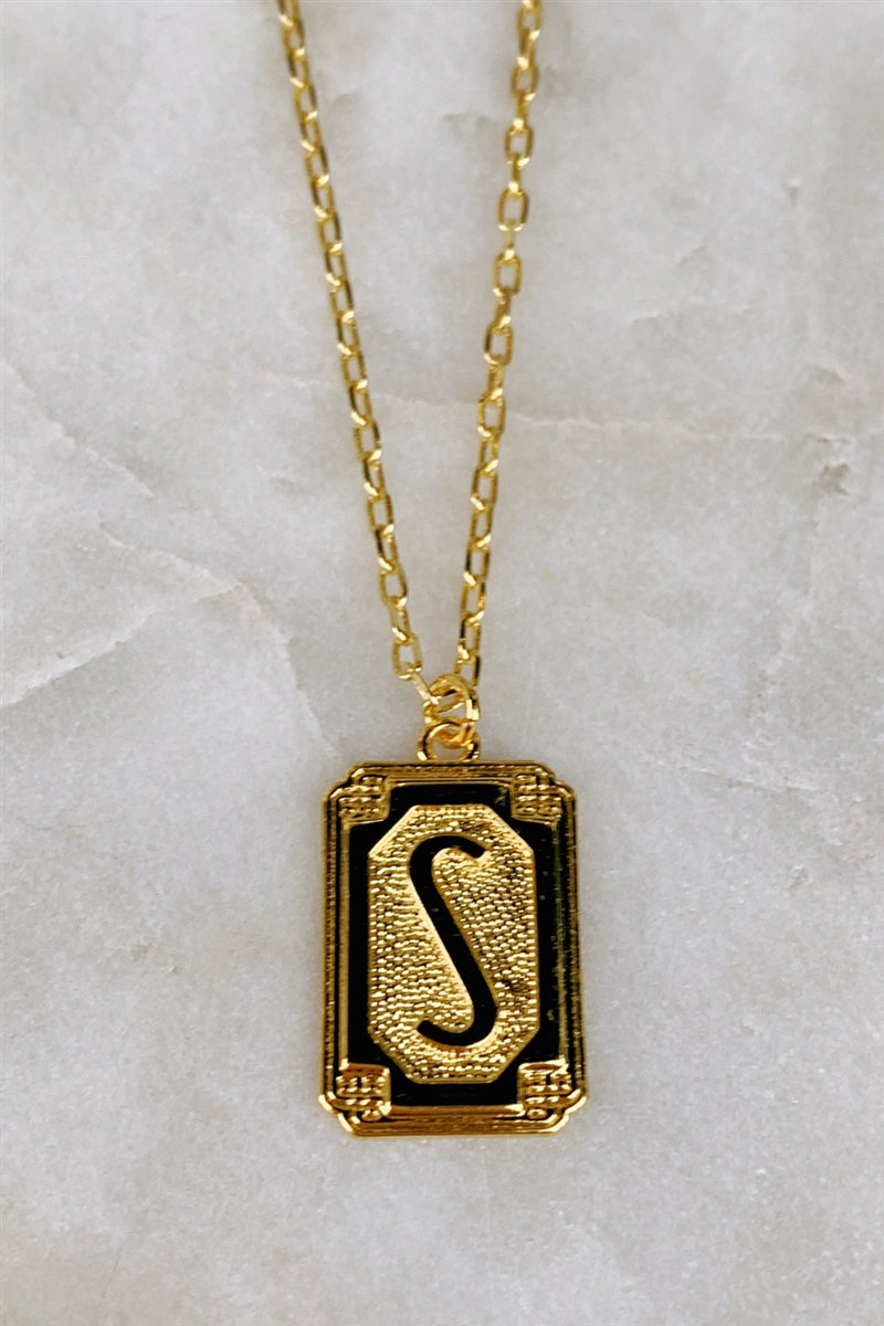 Gold Deco Initial Pendant Necklace - S
