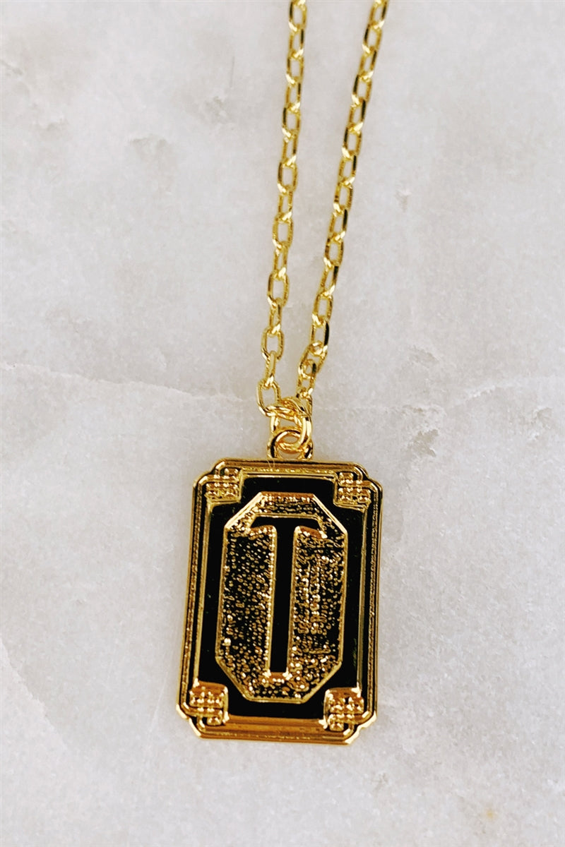 Gold Deco Initial Pendant Necklace - T