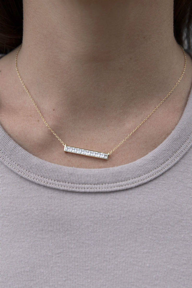 Diamonds Are Forever Bar Necklace