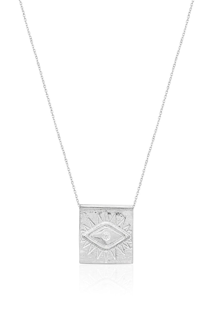 Square Evil Eye Pendant Necklace