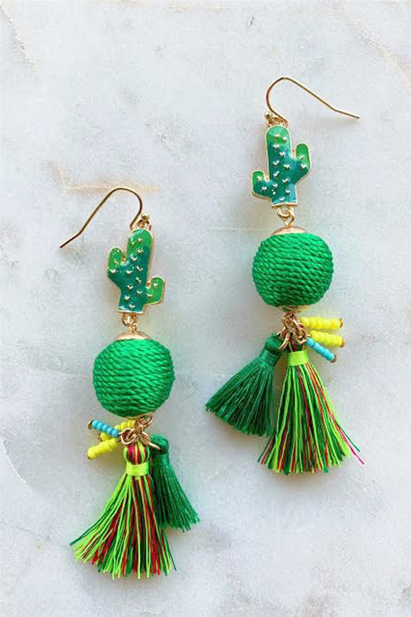 Cactus Cutie Tassel Earrings