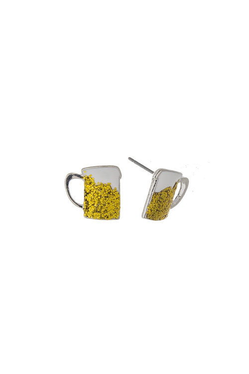 Beer Mug Glitter Stud Earrings