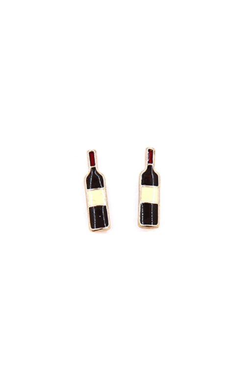 Red Wine Bottle Stud Earrings